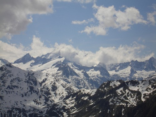 Looking out at the Alps